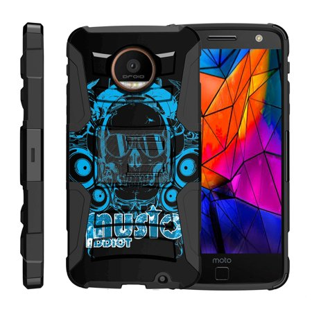 TurtleArmor ® | For Motorola Moto Z Force Droid Edition XT1650-02 [Hyper Shock] Hybrid Dual Layer Armor Holster Belt Clip Case Kickstand - Cool Skull (Nokia N70 Music Edition)