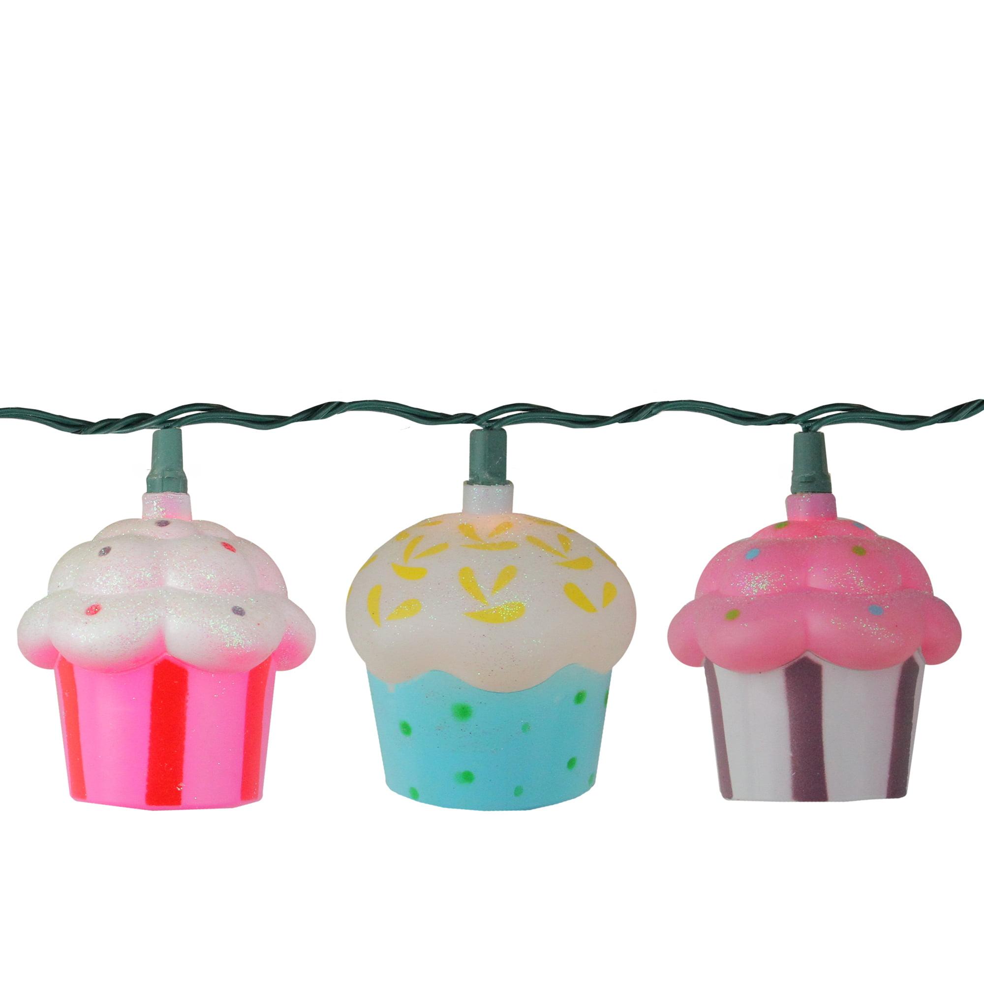 Set of 10 Glitter Cupcake Novelty Christmas Lights - 10 ft Green Wire