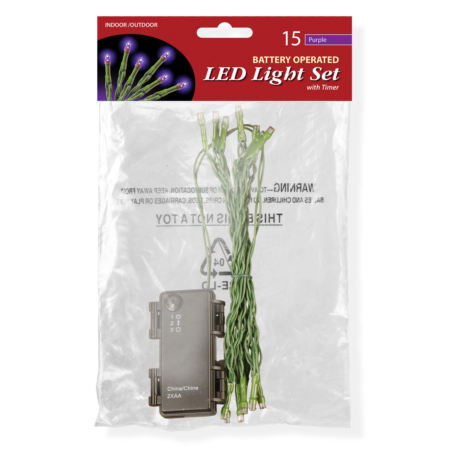Battery Operated LED Light String Set, 15 Bulb, Purple