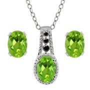 2.46 Ct Oval Natural Peridot Black Diamond 925 Silver Pendant   Earrings Set