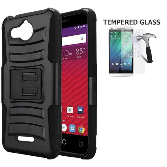buy popular 46fa5 97c25 Alcatel Tetra Case, Phone Case for Alcatel Tetra (5041C), Shockproof  Holster Protective Case Cover with Tempered Glass Screen Protector and  Swivel ...