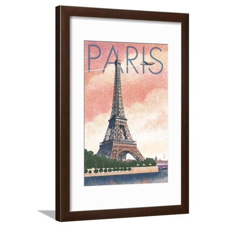 Paris, France - Eiffel Tower and River - Lithograph Style Travel Advertisement Framed Print Wall Art By Lantern Press