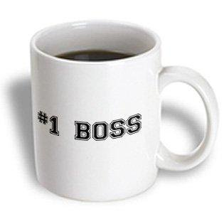 3dRose #1 Boss - Number One Best Greatest Boss - Work and Office gifts - fun flattering gifts - black, Ceramic Mug,
