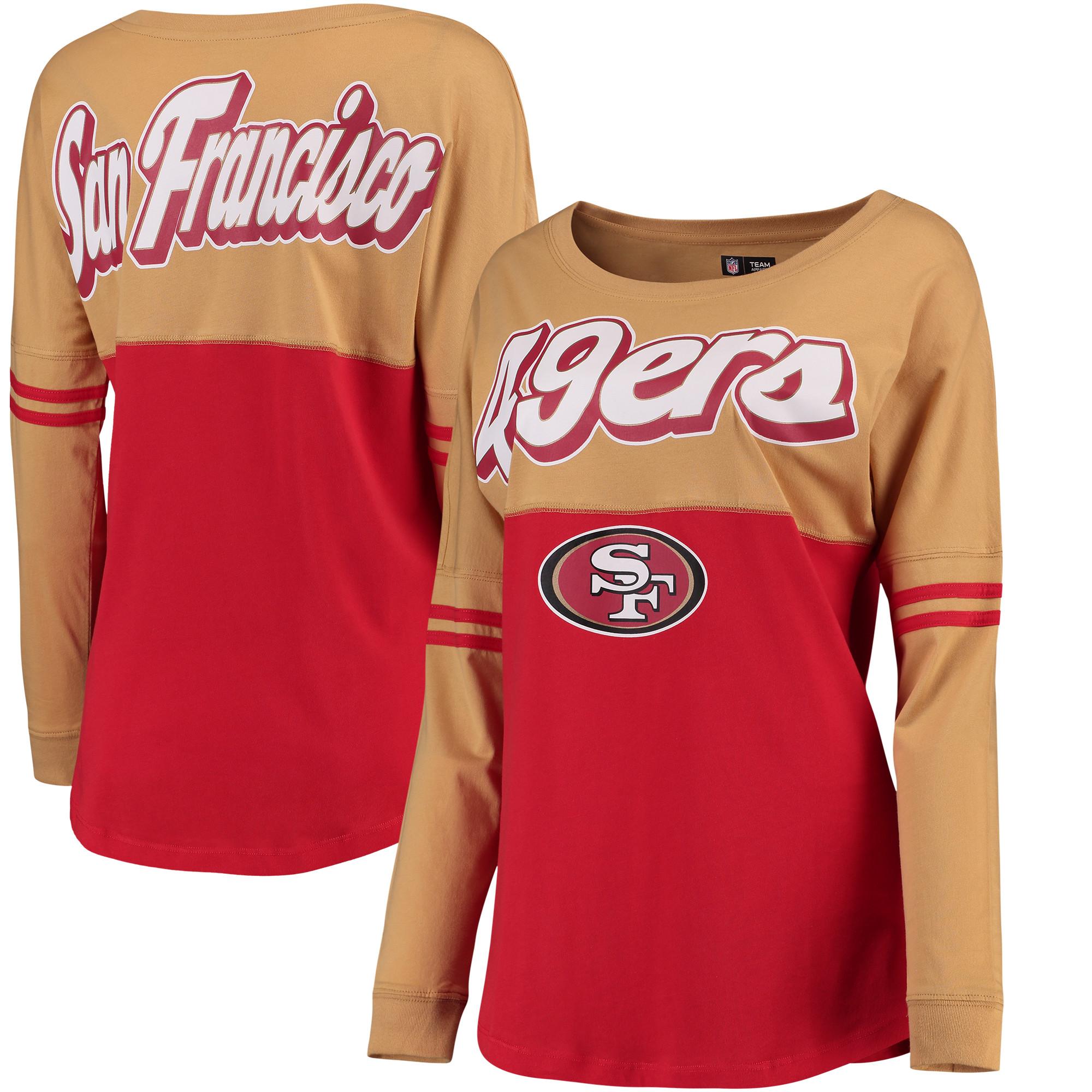 San Francisco 49ers 5th & Ocean by New Era Women's Athletic Varsity Long Sleeve T-Shirt - Gold/Scarlet