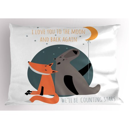 I Love You Pillow Sham Bear and Fox in Love Counting Stars at Night Animal Birthday Print, Decorative Standard Size Printed Pillowcase, 26 X 20 Inches, Orange Slate Blue Grey, by Ambesonne