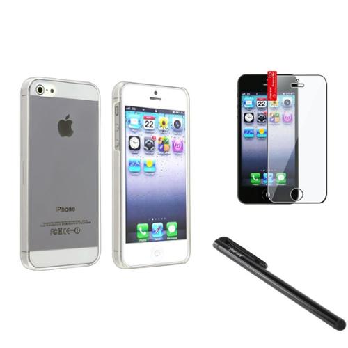 Insten Clear Case+LCD Film+Black Pen For Apple iPhone 5S 5 5G