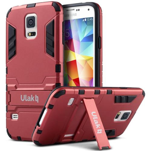 ULAK Galaxy S5 Case, Dual Layer Impact Heavy Duty Slim Kickstand Bumper Case Hybrid Protective Cover For Samsung Galaxy S5 (Red)