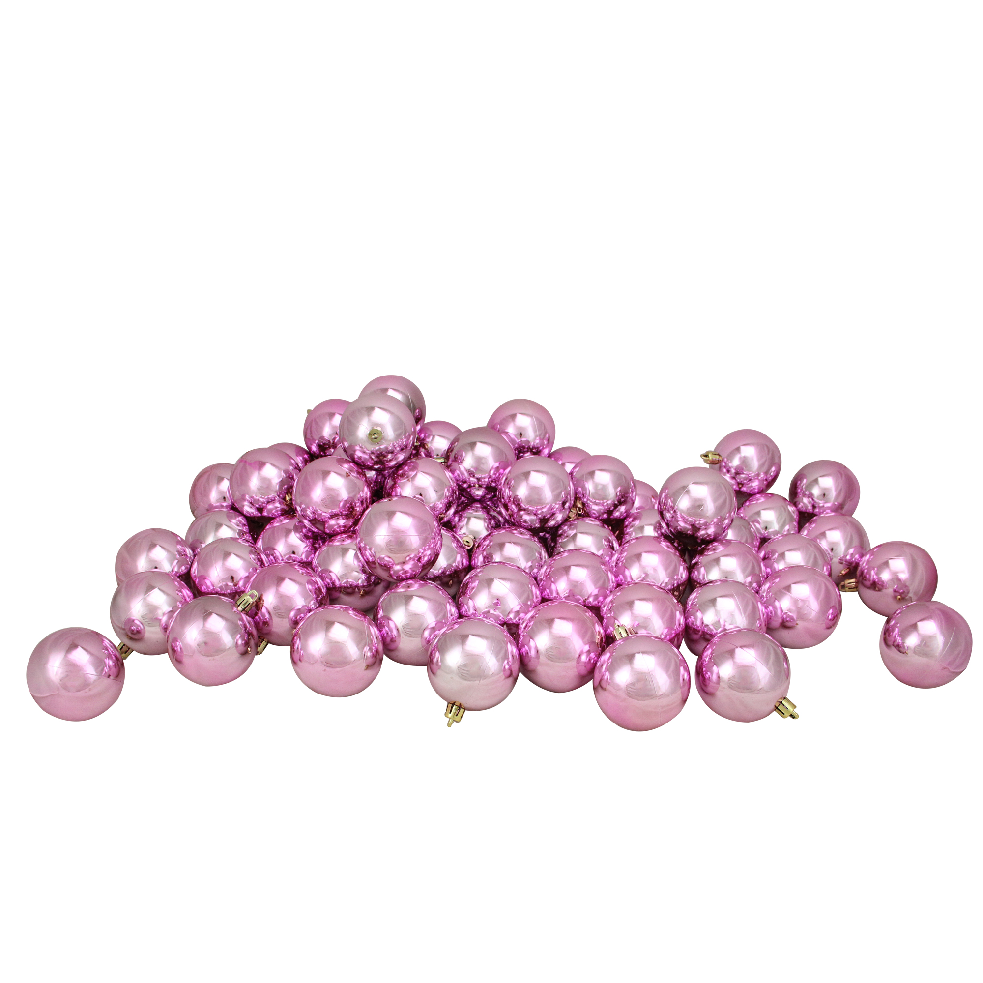 "60ct Bubblegum Pink Shatterproof Shiny Christmas Ball Ornaments 2.5"" (60mm)"