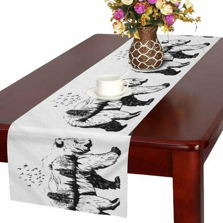 MKHERT Wildlife Concept Hand Drawn Bear Animal Table Runner Home Decor for Wedding Banquet Decoration 16x72 Inch ()