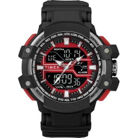 Timex Men's DGTL Tactic Combo Black/Gray/Red Resin Strap 50mm Watch
