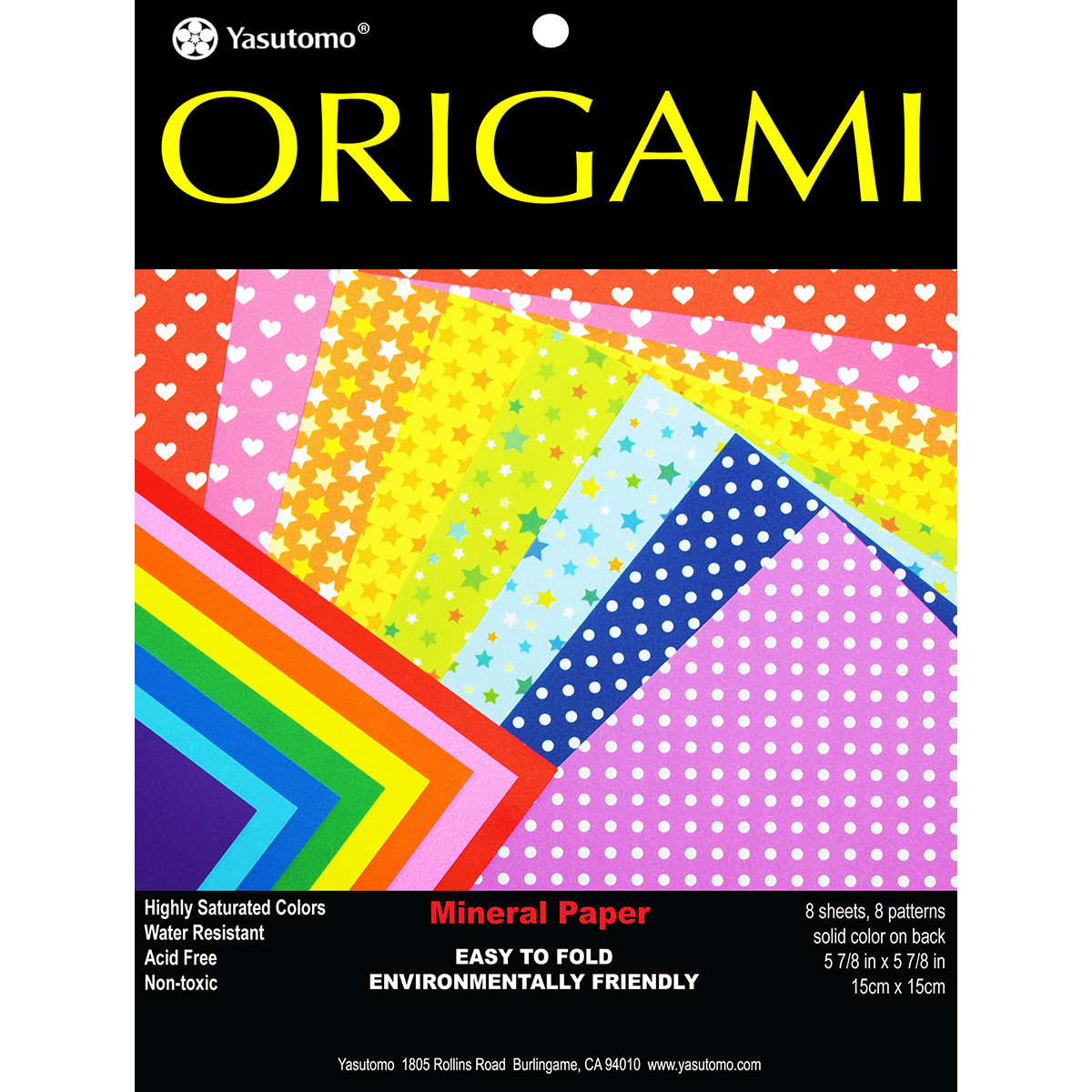 "Fold 'Ems Origami 2-Sided Paper 5.875"" 8/Pkg-Mineral Dots/Solids"