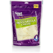 Great Value Finely Shredded Low-Moisture Part-Skim Mozzarella Cheese, 8 oz
