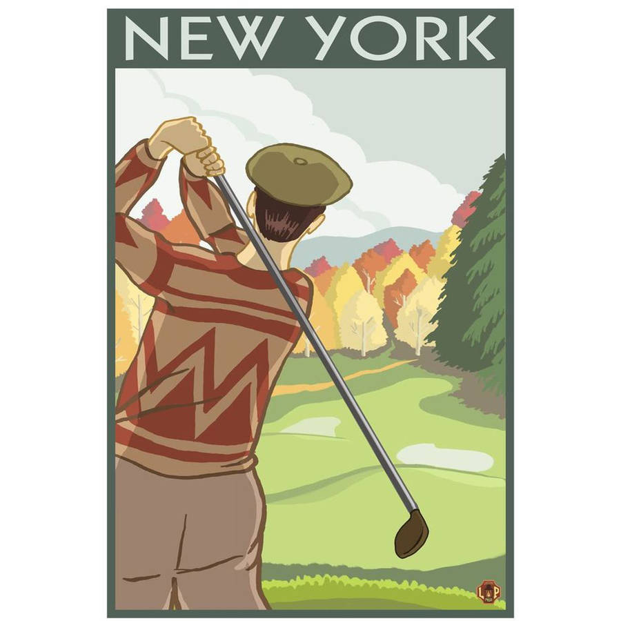 New York - Golfing Scene: Retro Travel Poster by Eazl Cling