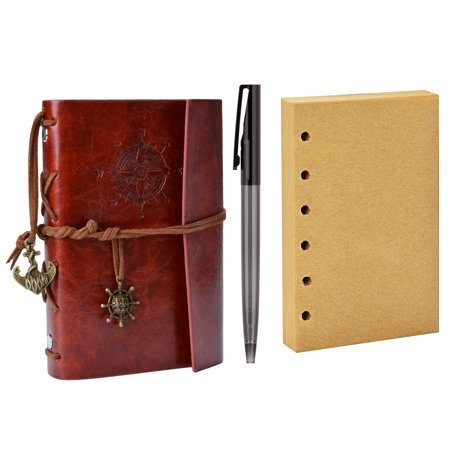 ffb008c936d4 Bound Notebook, Coxeer Refillable Journal Vintage Artificial Leather  Writing Diary with Pen & Blank Interleaves Reddish Brown for College Men  Women ...