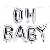"""OH BOY Letter Balloons - 16"""" Silver Balloons - Gender Reveal - Baby Boy Shower"""