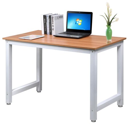 Yaheetech Modern Simple Design Home Office Desk Computer Table Wood Desktop Metal Frame Study Writing Desk Workstation ()