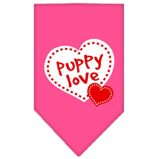 Puppy Love Screen Print Bandana Bright Pink Small