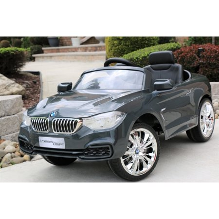 BMW 4-Series Grey Licensed 12V Kids Electric Ride-On Car with Remote Control - White ()