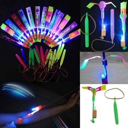 5/pk Led Light Up Glowing Slingshot Helicopter Flashing Bright Lights