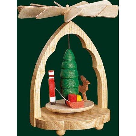 Santa and Deer Small German Christmas Pyramid Made in Germany Mini 4.5 inch New