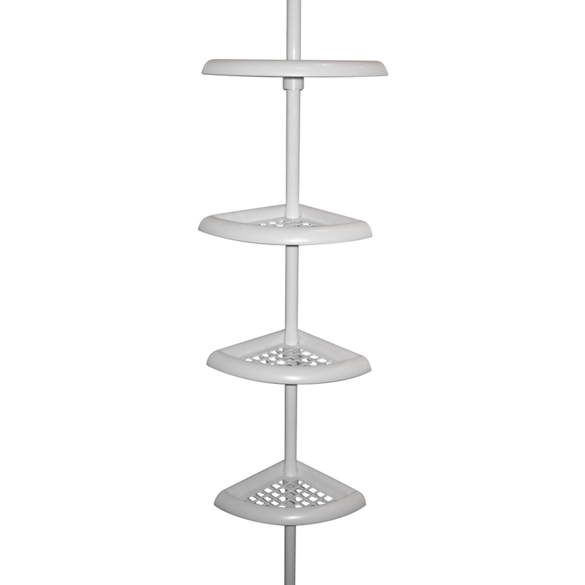 Tension Pole Corner Shower Caddy zenna home 2104w, bathtub and shower pole caddy, white - walmart