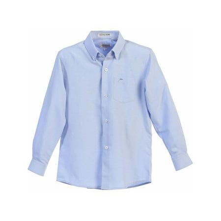 Gioberti Little Boys Blue Chest Pocket Long Sleeved Oxford Dress - Boys Dress Up Chest