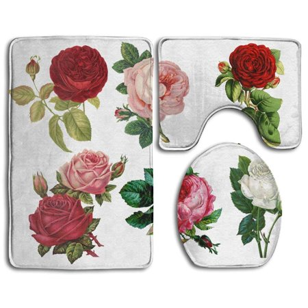 EREHome Red Pink White Roses 3 Piece Bathroom Rugs Set Bath Rug Contour Mat and Toilet Lid Cover - image 1 of 2
