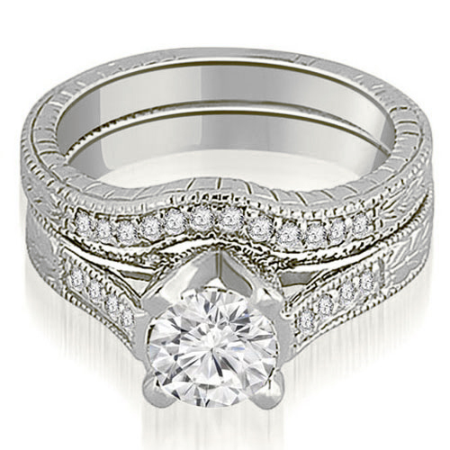 1.50 CT.TW Antique Cathedral Round Cut Diamond Engagement Set in 14K White, Yellow Or Rose Gold