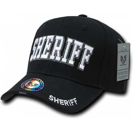 RapDom Sheriff Deluxe Law Enf. Mens Cap [Black - Adjustable] Sheriff Hat Cap