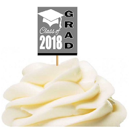 12pack Class of 2018 Grey Graduation Party CUpcake Desert Appetizer Food Decoration Picks
