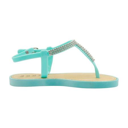 - Sara Z Girls Vegan Thong Sandal With Rhinestones Embellishment