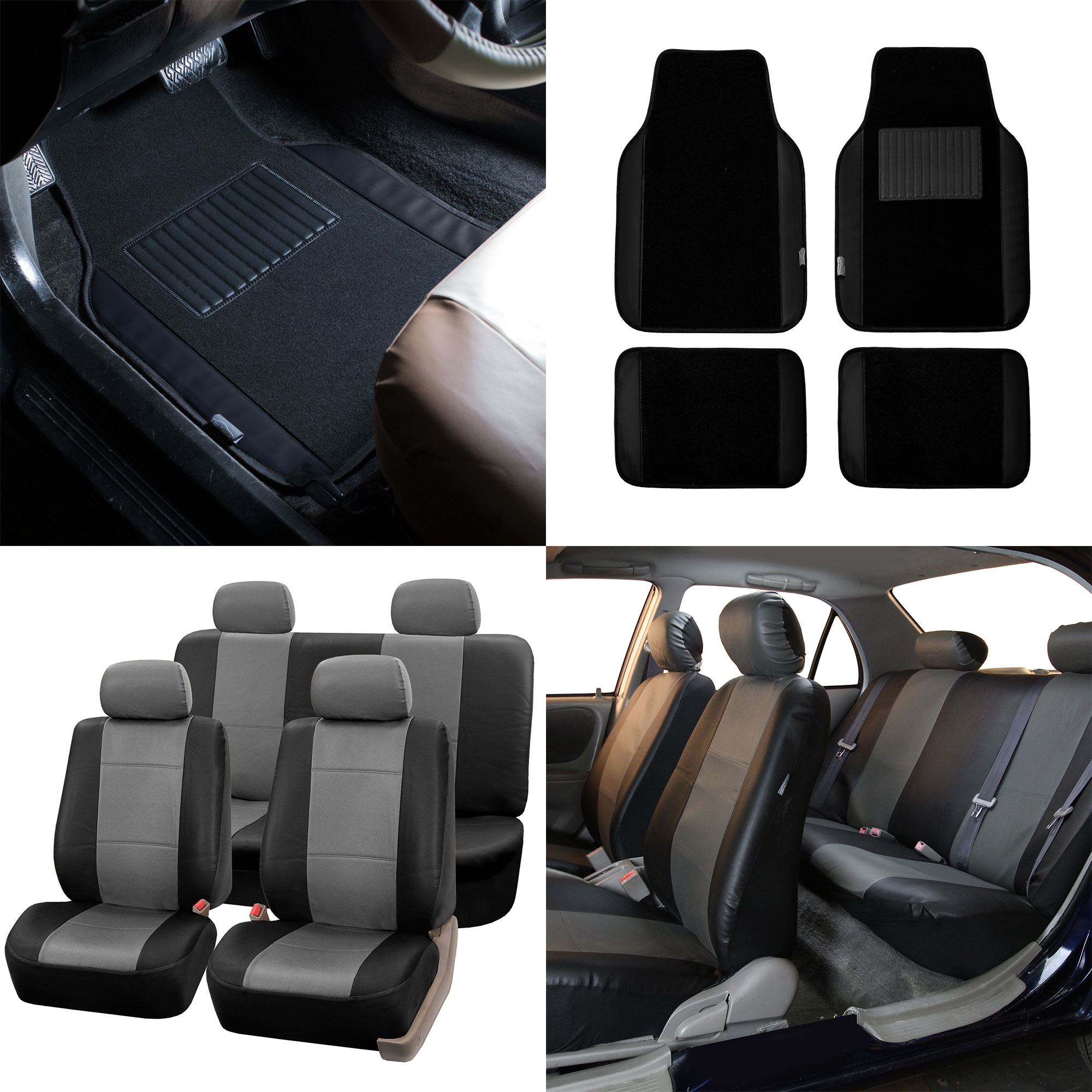 Fh Group Universal Pu Leather Car Seat Covers Full Set