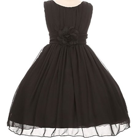Big Girls' Elegant Yoryu Wrinkled Chiffon Summer Flowers Girls Dresses Black 14 G35G34 - Flowers For Dresses