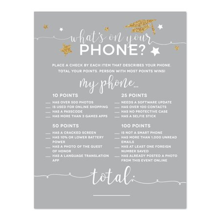 Gray and Gold Glittering Graduation, What's on Your Phone? Game Cards, 20-Pack, Games Activities and Decorations for $<!---->