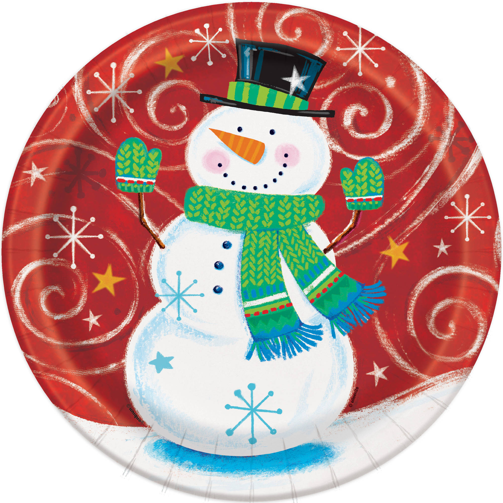 "9"" Snowman Swirl Holiday Party Plates, 8ct"