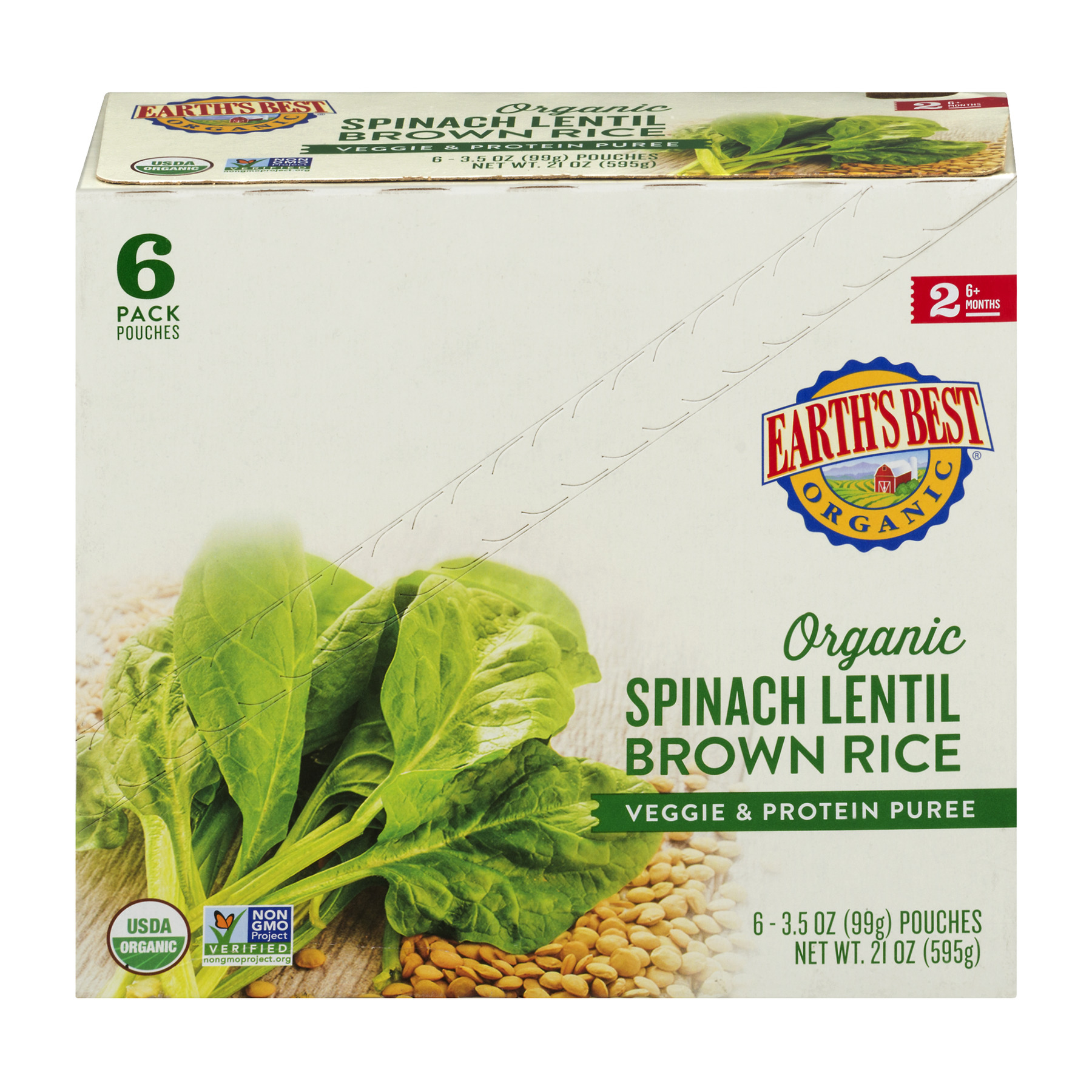 Earth's Best Organic Spinach Lentil Brown Rice Veggie & Protein Puree 6+ Months - 6 PK, 3.5 OZ