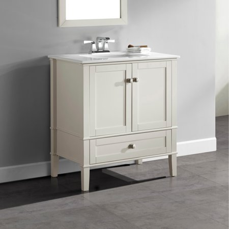 30 Inch Maple Top - WyndenHall  Windham 30 inch Contemporary Bath Vanity in Soft White with White Engineered Quartz Marble Top