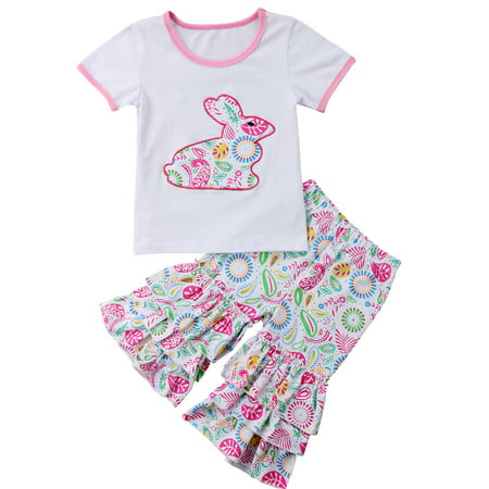 Easter Bunny Baby Outfit (2PCS Toddler Baby Girls Easter Outfits Short Sleeve Bunny Tshirt Top+Ruffle Floral)