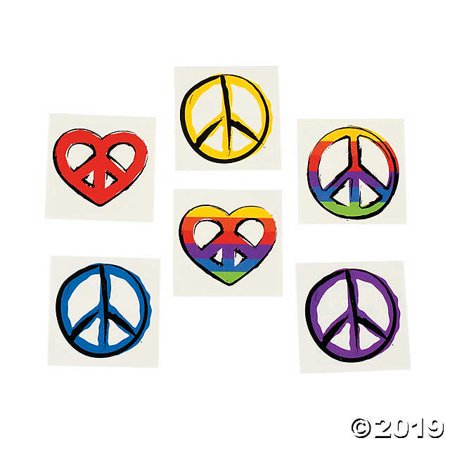 Peace Sign Tattoos - Tie Dye Peace Sign Tattoos