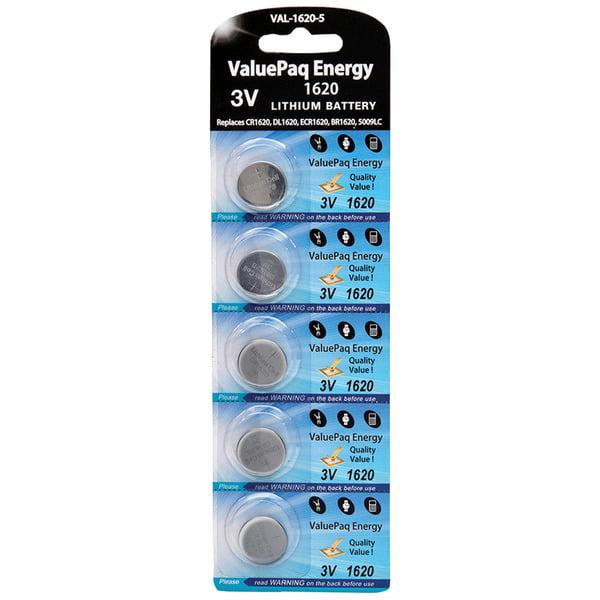 Dantona[r] Val-1620-5 Valuepaq Energy 1620 Lithium Coin Cell Batteries, 5 Pk