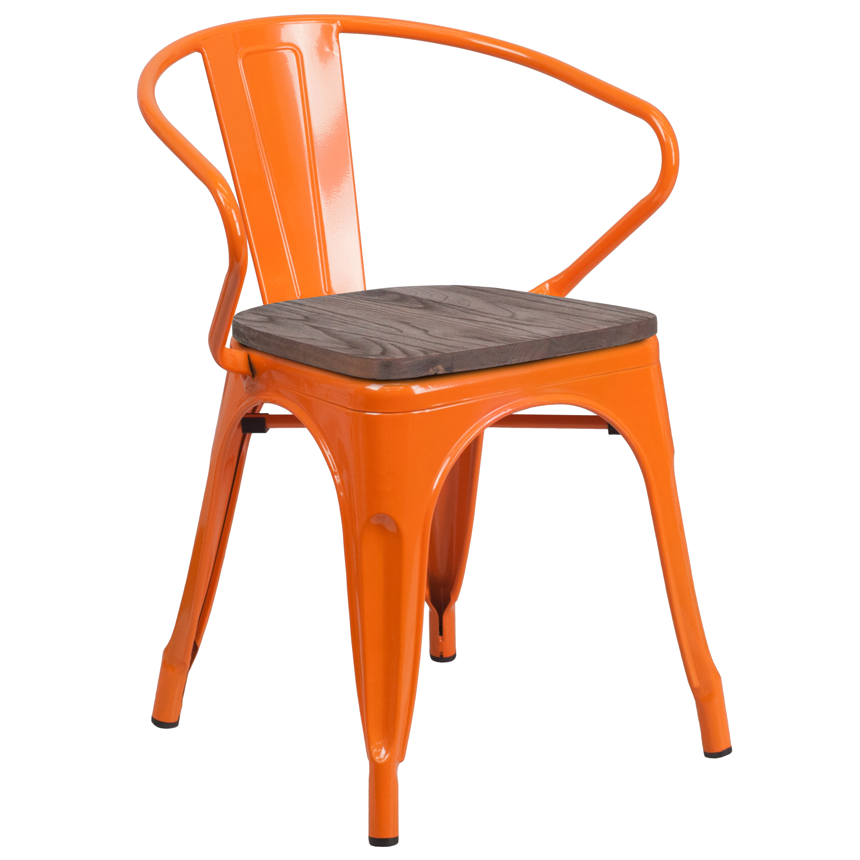 Flash Furniture Blue Metal Chair with Wood Seat and Arms