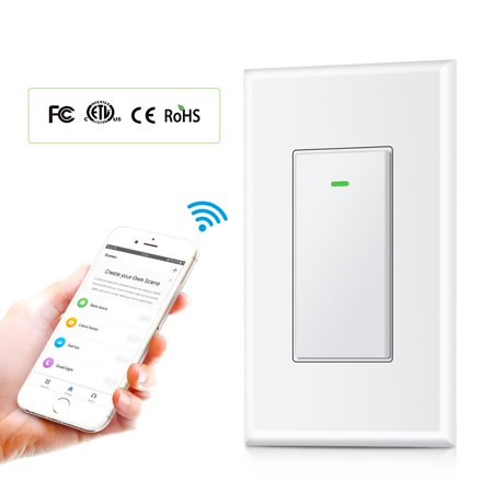 Smart Wi-Fi Light Switch, SLYPNOS Wireless Remote Switch and In-Wall Voice  Control Switch with Timer Function and Overload Protection Compatible with
