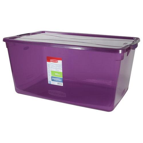 Rubbermaid 95-Qt Clever Store Container, Purple