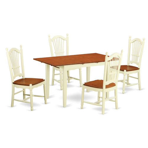 NODO5-WHI-W 5 Piece dinette set- -Dinette table and 4 din...