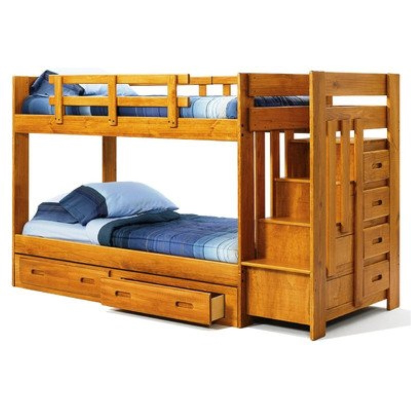 """Chelsea Home Furniture 361548-R-S Twin Over Twin Bunk Bed with Reversible Staircase and Underbed Storage, 60""""H, Honey"""