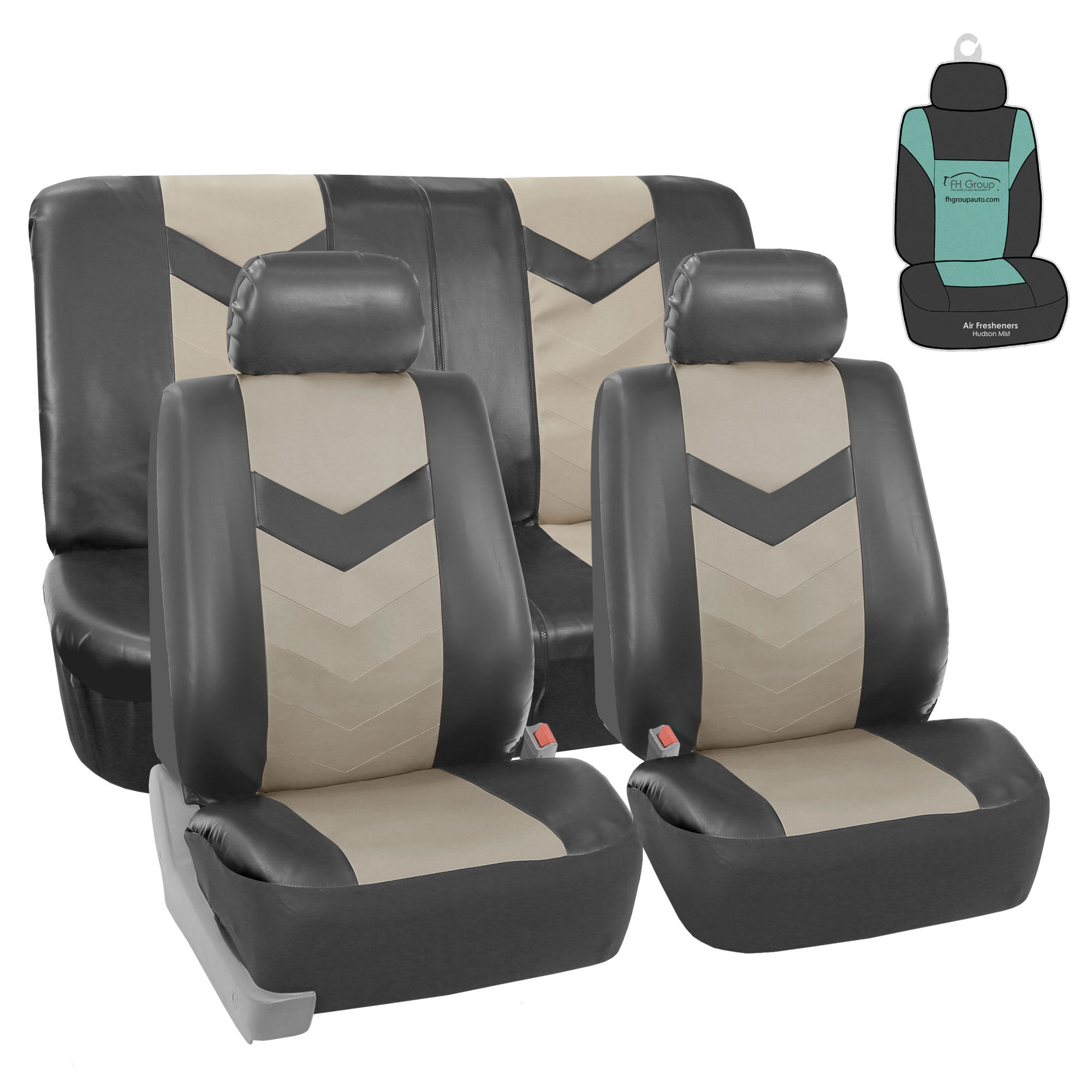 FH Gorup PU Leather Seat Covers For Auto Car SUV 2 Tone Gray w/ Accessories / Free Gift