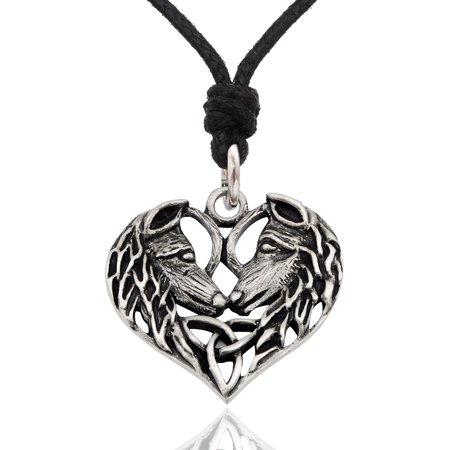 Heart-Wolf Size M Silver Pewter Charm Necklace Pendant Jewelry With Cotton Cord Feather Pewter Pendant