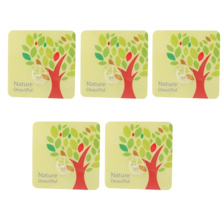 (PVC Tree Pattern Wall Door No Scratch Seamless Adhesive Hooks Multicolor 5pcs)