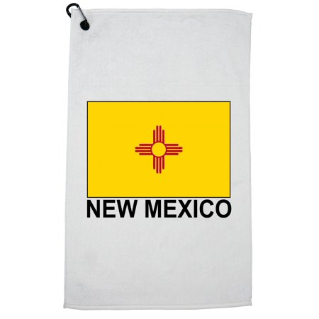 New Mexico State Flag - Special Vintage Edition Golf Towel with Carabiner Clip