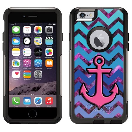 Skin Decal for Otterbox Commuter Apple iPhone 6 Case - Anchor on Chevron Teal Blue on Nebula